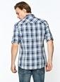 Mavi Kolu Katlamalı Gömlek Beyaz